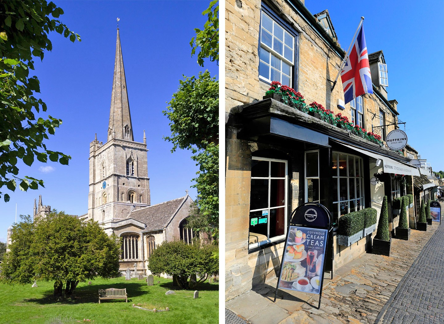 The church and Huffkins Bakery in Burford in the Cotswolds