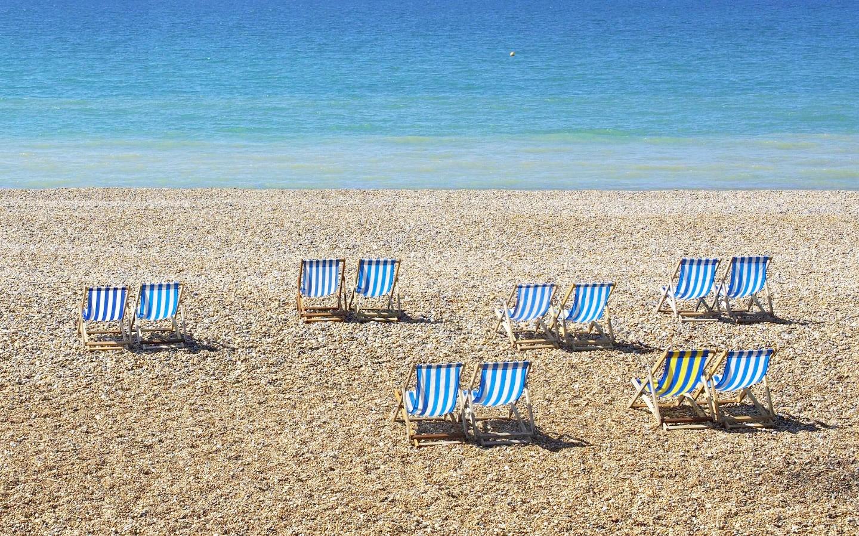 Deckchairs on Brighton beach