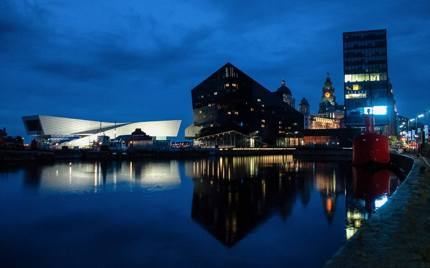 Buildings reflected in the Royal Albert Docks Liverpool