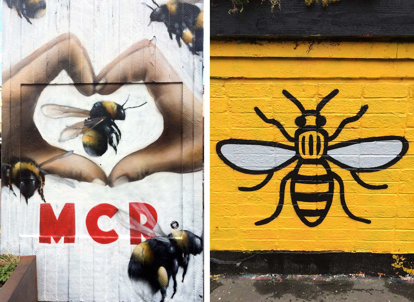 Manchester bees street art in the Northern Quarter