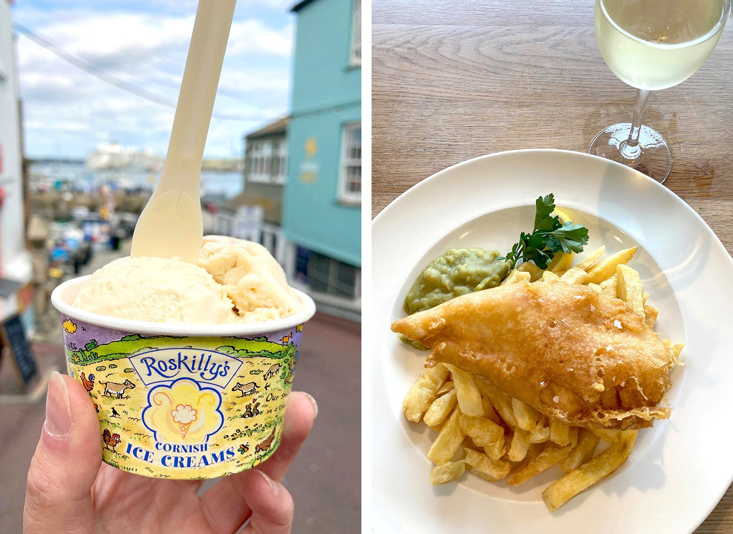 Ice cream and fish and chips on a weekend in Falmouth Cornwall