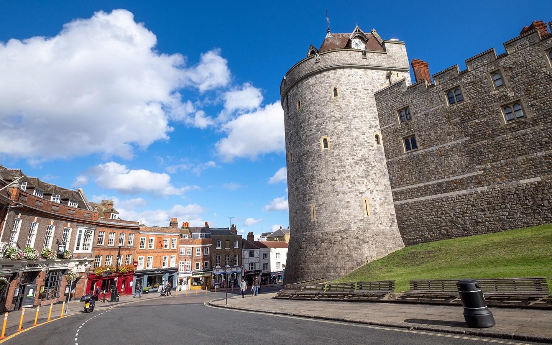Modern Windsor just outside walls of Windsor Castle