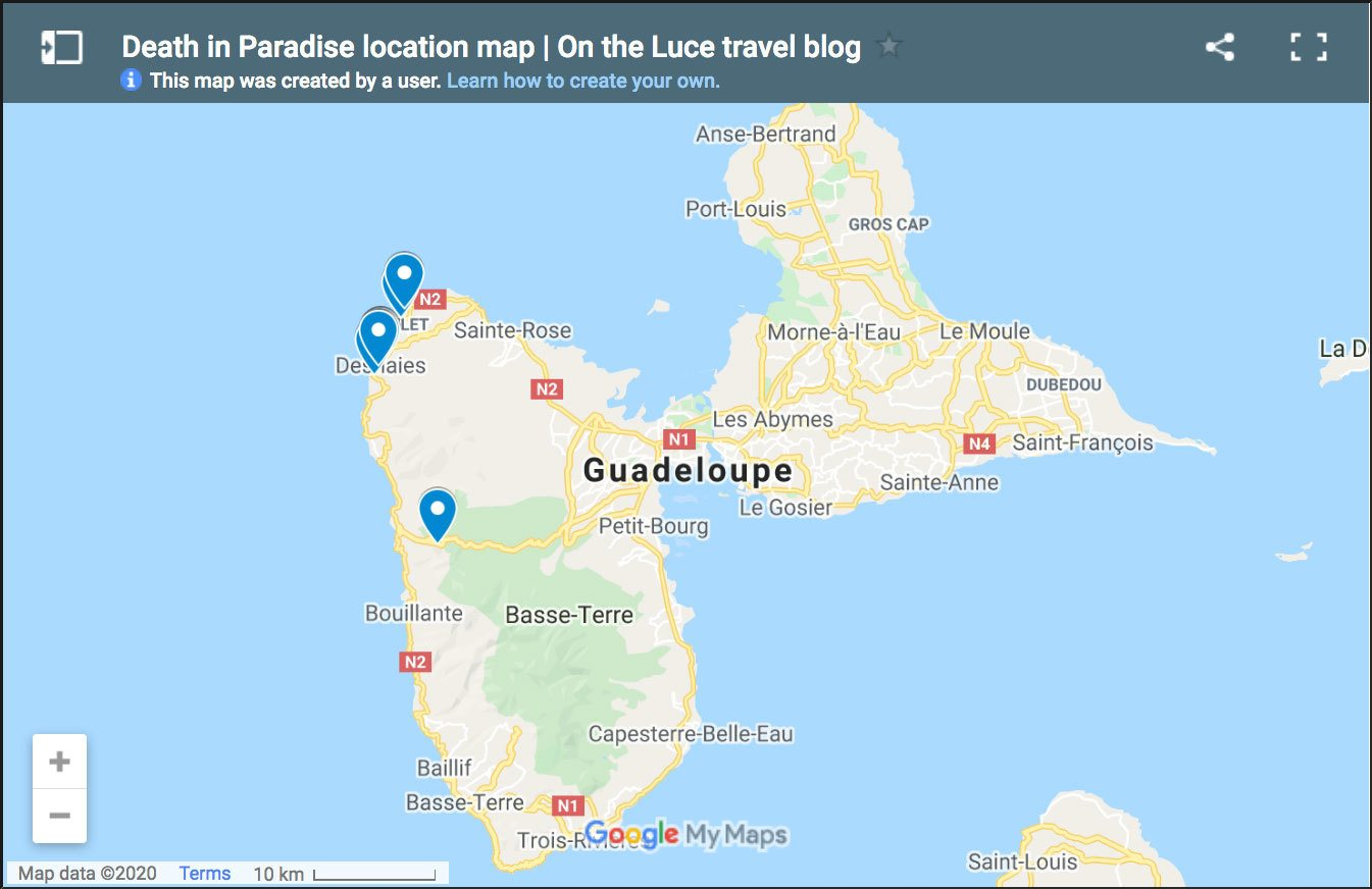 Death in Paradise location map showing filming locations for the series in Guadeloupe
