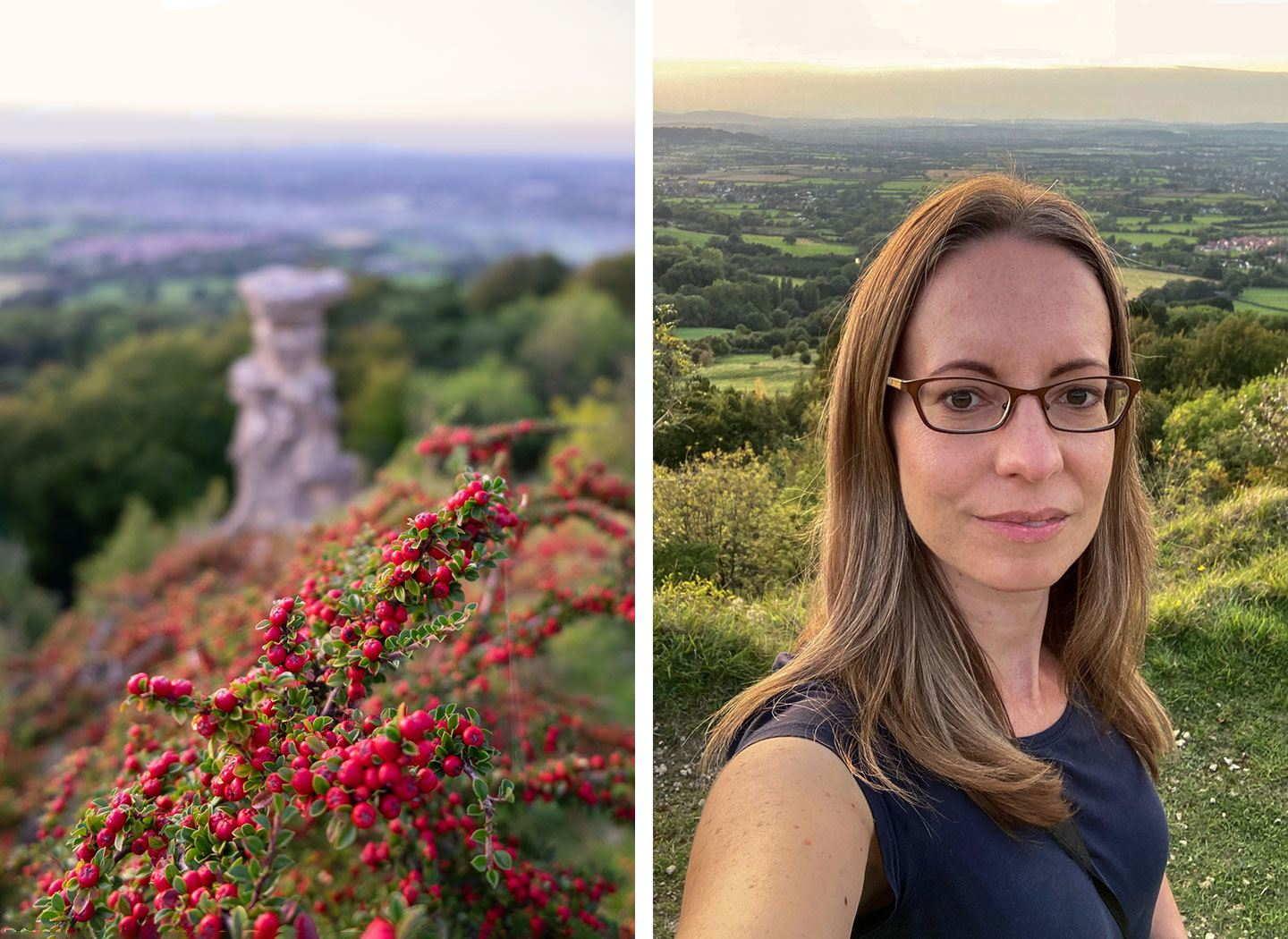 Autumn sunset walks on Leckhampton Hill near Cheltenham