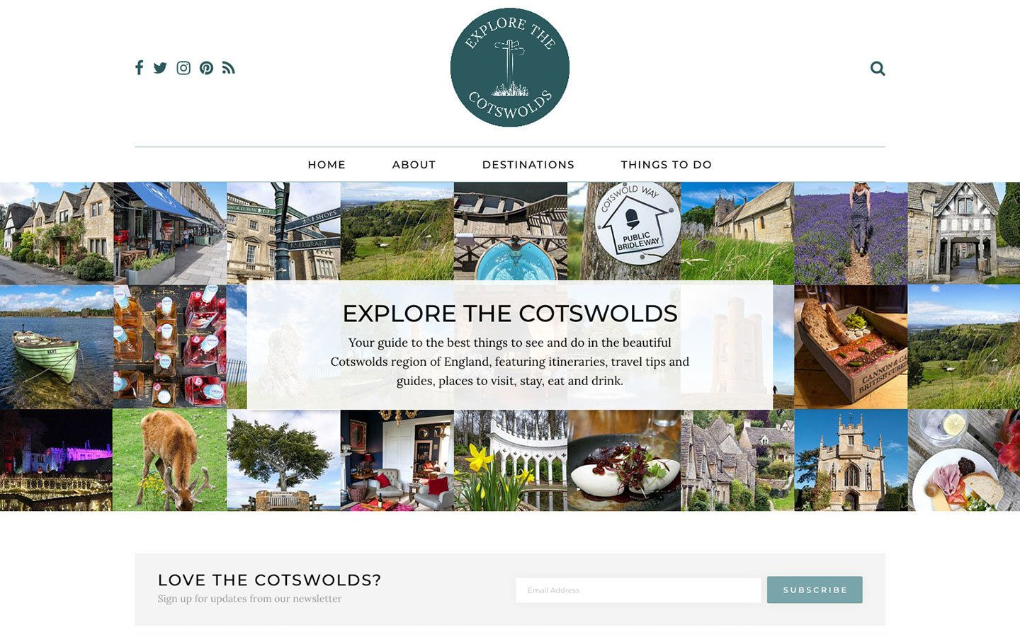 The homepage of the Explore the Cotswolds website