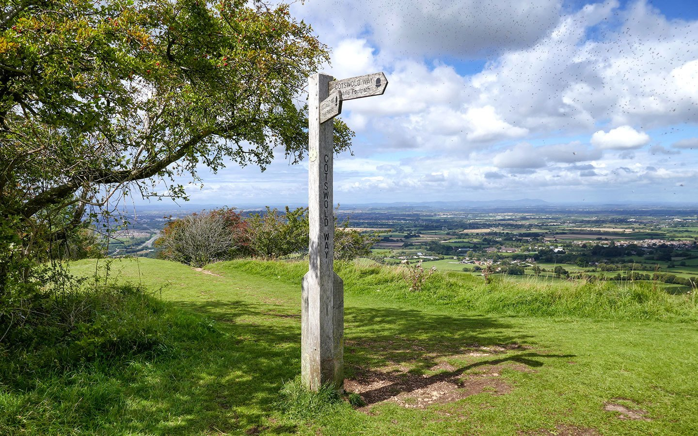 Walking the Cotswold Way – signpost at Crickley Hill