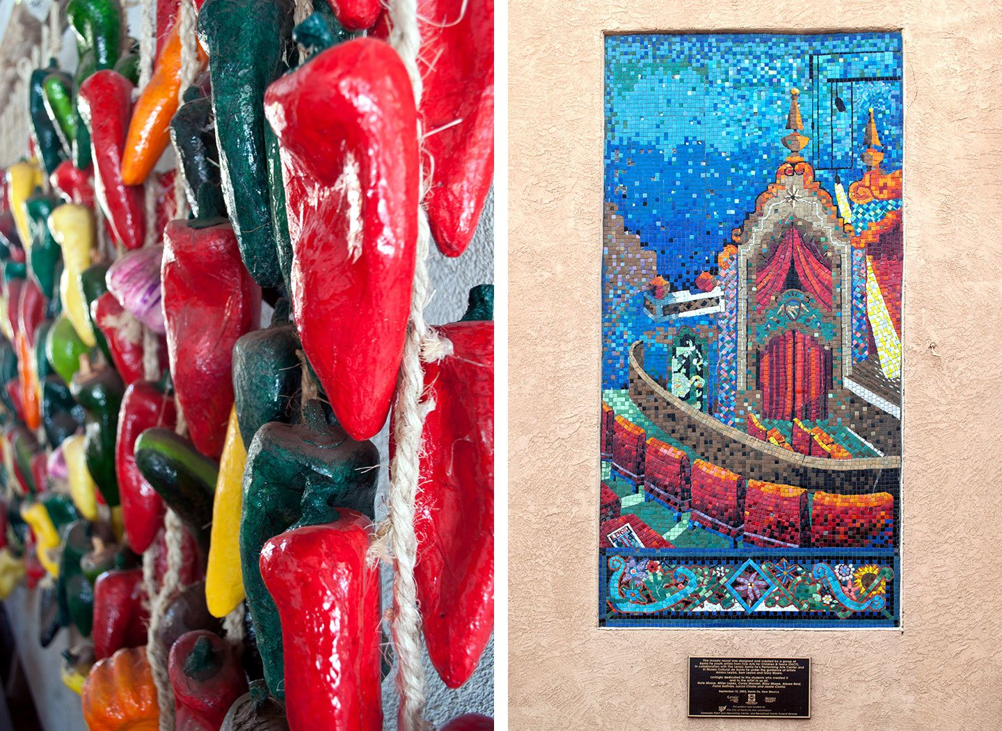 Colourful painted chilies and mosaics in Santa Fe, New Mexico