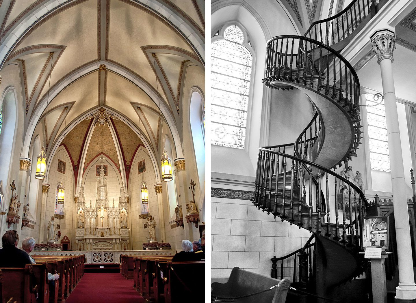 Inside the Loretta Chapel and the miraculous staircase, Santa Fe