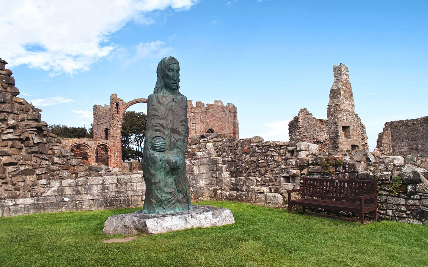 The ruins of Lindisfarne Priory on Holy Island, Northumberland