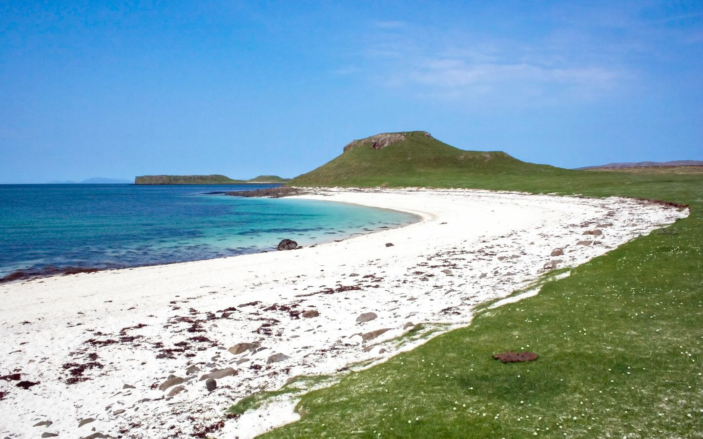 The white sands of Claigan Coral Beach in the north of the Isle of Skye