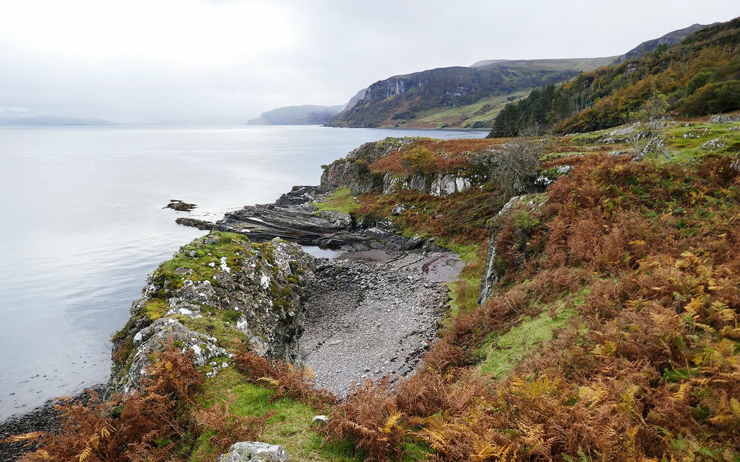 Rugged landscapes on the Isle of Raasay in Scotland
