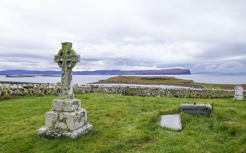 Cross gravestone at Trumpan churchyard on the Isle of Skye