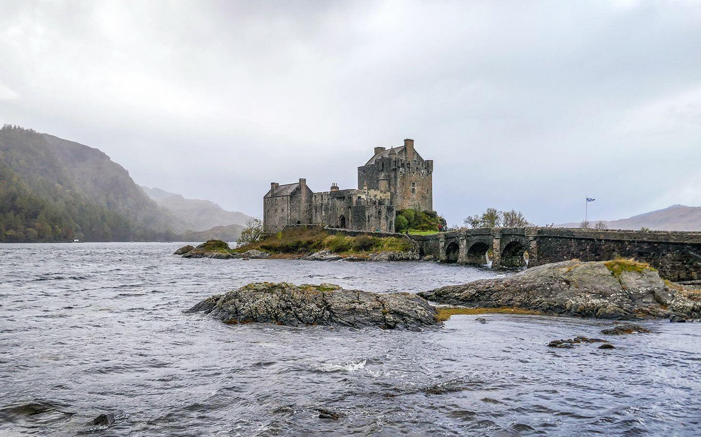 Eilean Donan Castle under grey stormy skies