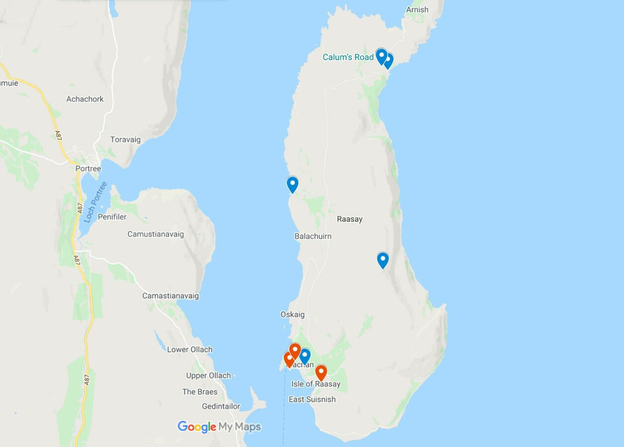 Map of attractions on the Island of Raasay in Scotland