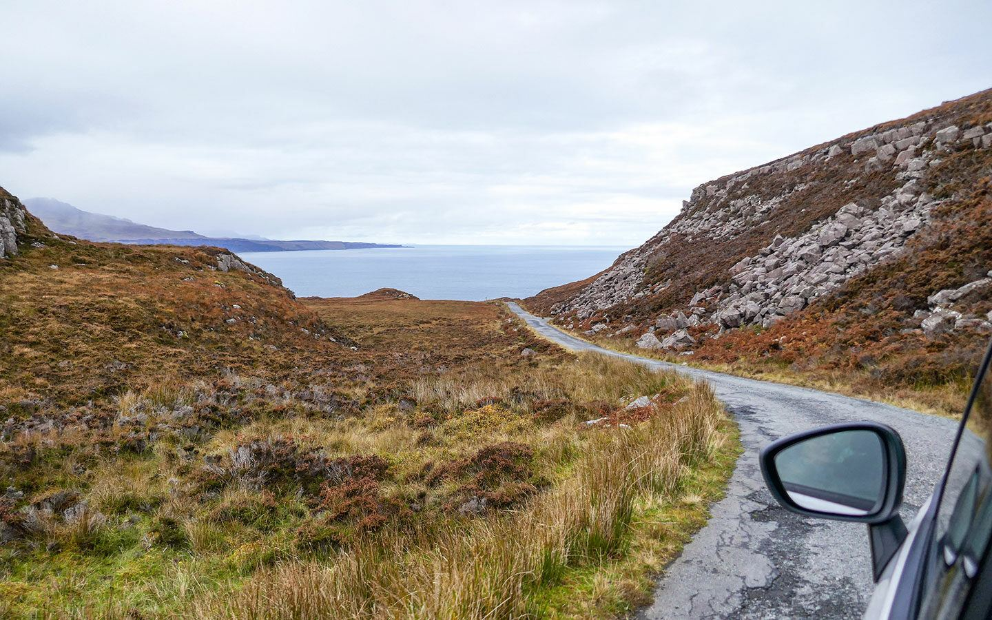 Driving on the Isle of Raasay on a day trip from the Isle of Skye
