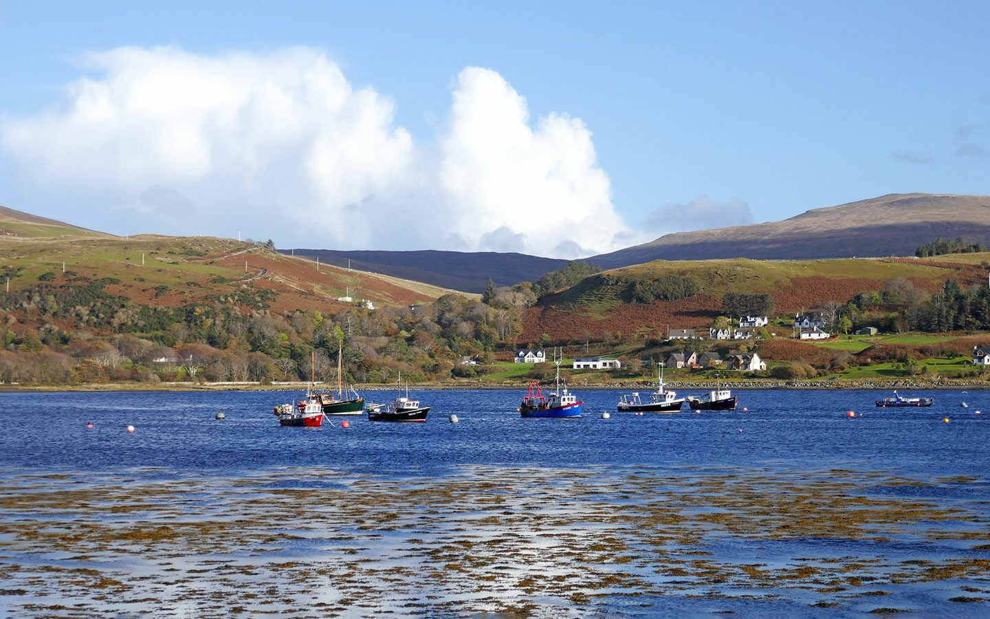 Boats in the harbour in Uig on the Isle of Skye