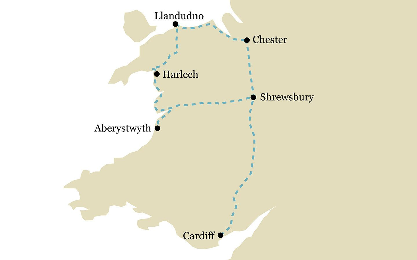 One-week Borders and Wales by train itinerary map