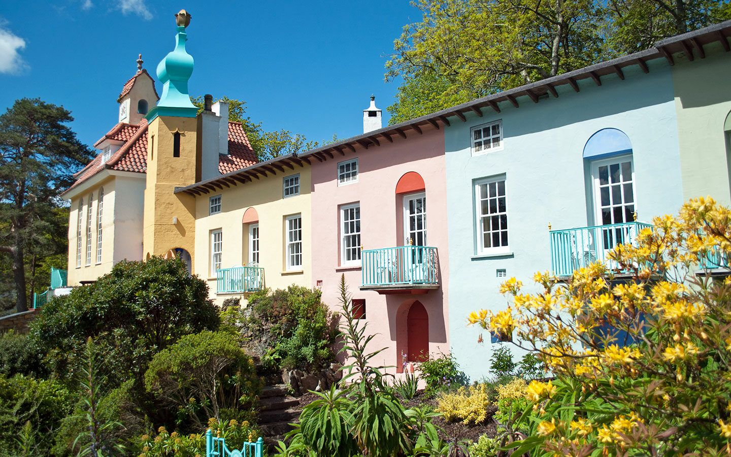Colourful buildings in the the Italian-style village of Portmeirion in North Wales