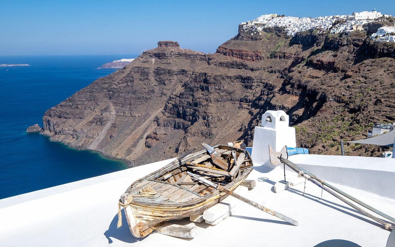 Boat overlooking the caldera in Fira, Santorini