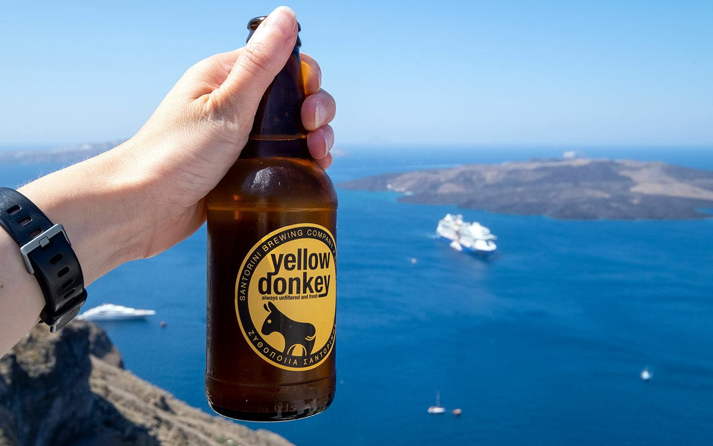 A Yellow Donkey beer from craft brewers Santorini Brewing Company