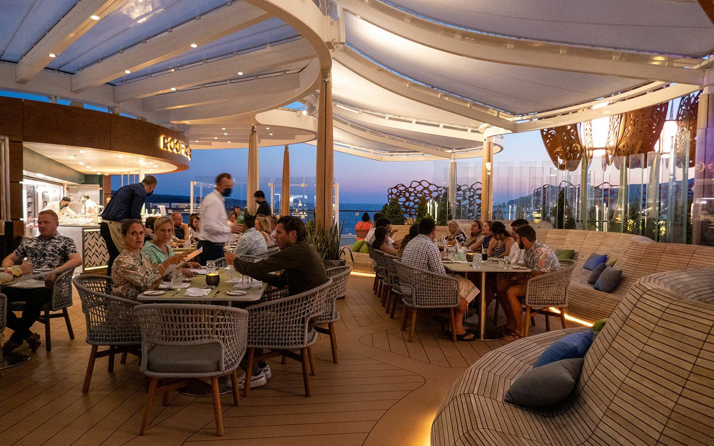The Rooftop Garden Grill on Celebrity Apex at dinner time