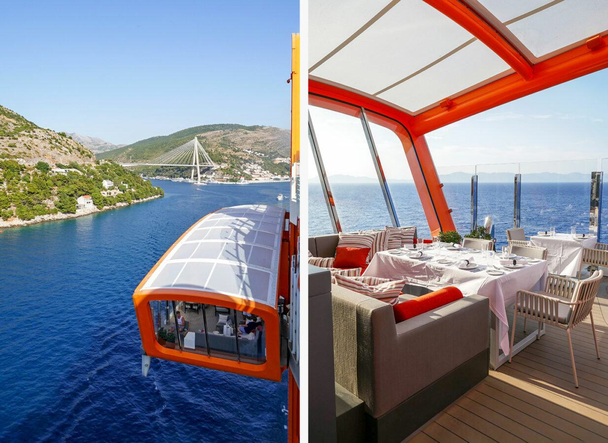 The Magic Carpet in Dubrovnik, and set up for dinner on Celebrity Apex