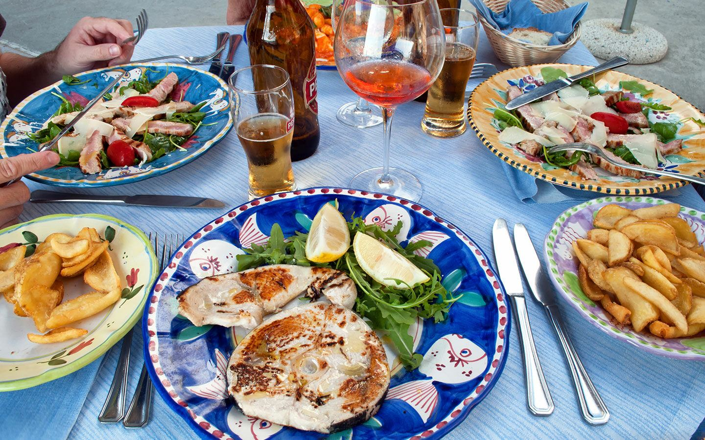 A local feast of food in Sorrento, Italy
